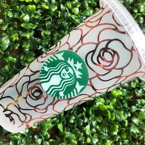 Custom rose gold chrome roses Starbucks cup
